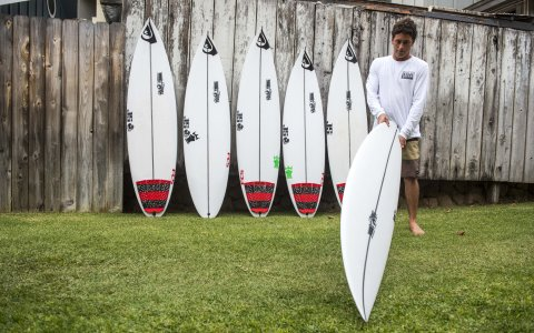 Jeremy Flores with his JS Surfboards quiver